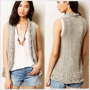 Anthro Angel Of The North Slip Stitch Crochet Vest